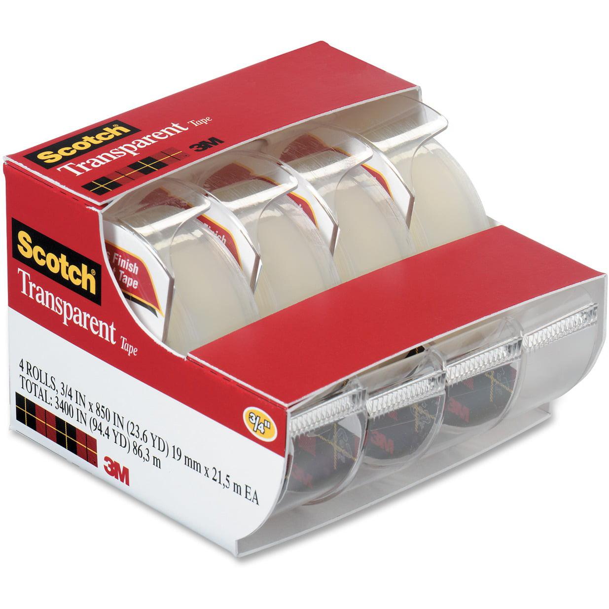 Scotch Transparent Tape Dispensers 4 Pack, 3/4 in. x 850 in., 4 Dispensers/Pack