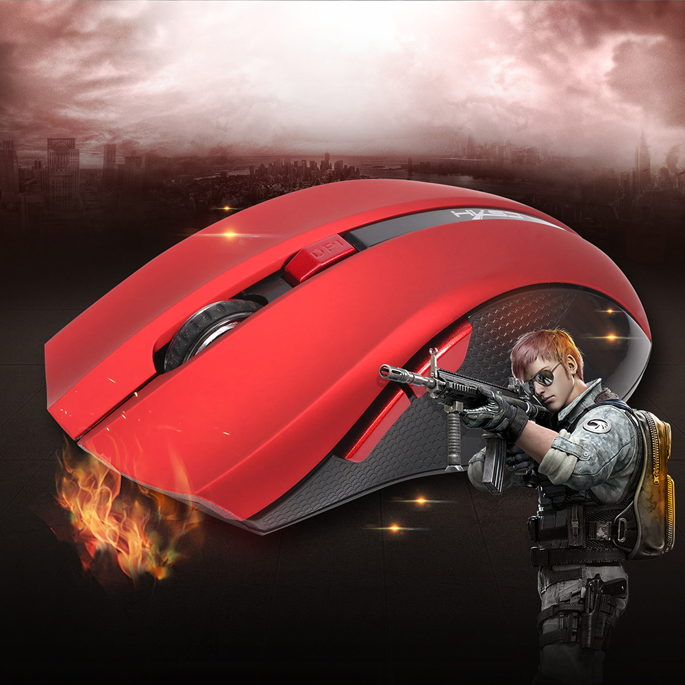 HXSJ Ergonomic Optical Office 2.4G Wireless Gaming Mouse Mice Adjustable 2400 DPI with 6 Buttons for Mac Laptop PC Notebook Computer