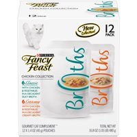 Fancy Feast Broths Chicken Collection Adult Wet Cat Food Complement Variety Pack , 1.4 Oz. Pouches