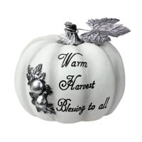 """8"""" Warm Harvest Blessing Thanksgiving Table Top Pumpkin"""