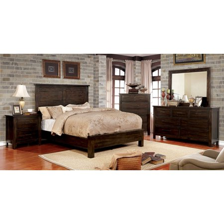 Transitional dark walnut finish panel headboard bedroom - King size bedroom set with mirror headboard ...
