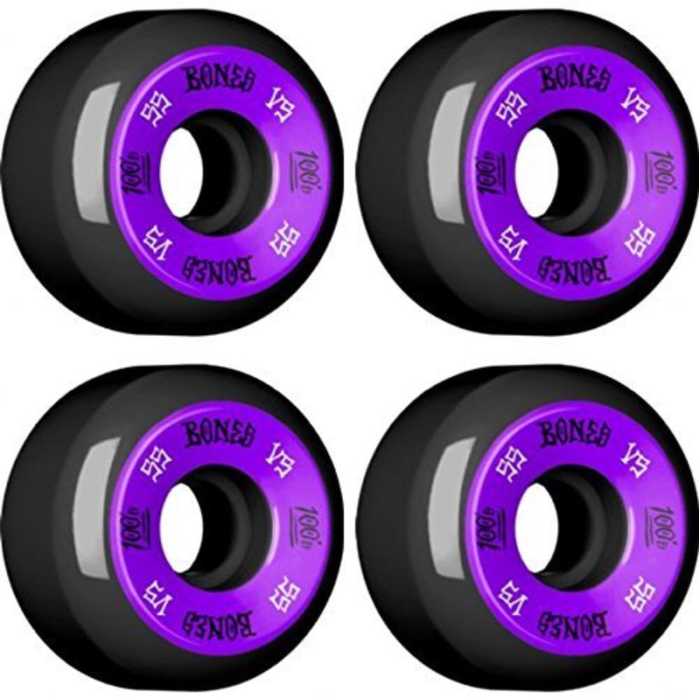 Bones Wheels Skateboard R/äder 100s 100A 55mm Black//Purple