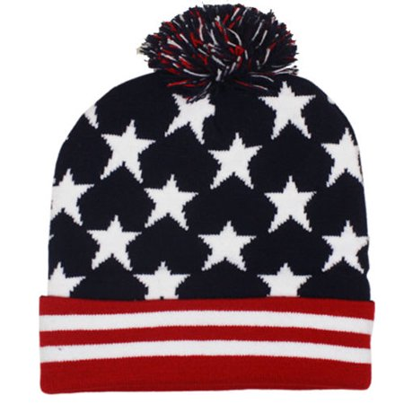 82c70c177 US American Flag POM Beanie Hat USA STARS AND STRIPES