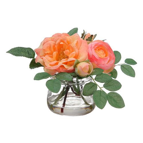 August Grove Edge Hill Silk Roses in Glass Vase