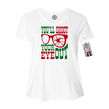 Christmas Story Shirts.Christmas Story Shoot Your Eye Plus Size Women V Neck T Shirt
