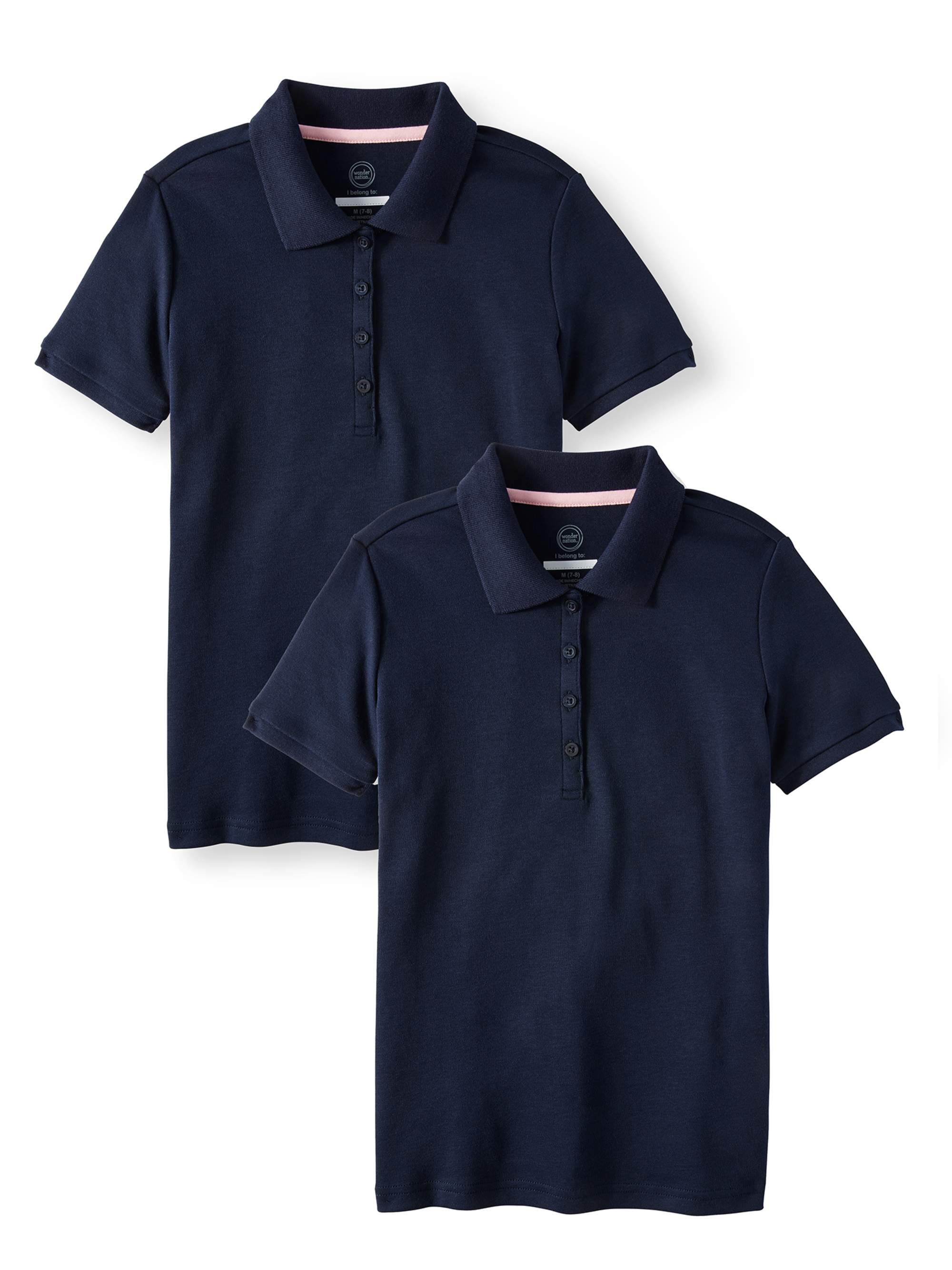 aab776ff1 Wonder Nation - Girls School Uniform Short Sleeve Interlock Polo
