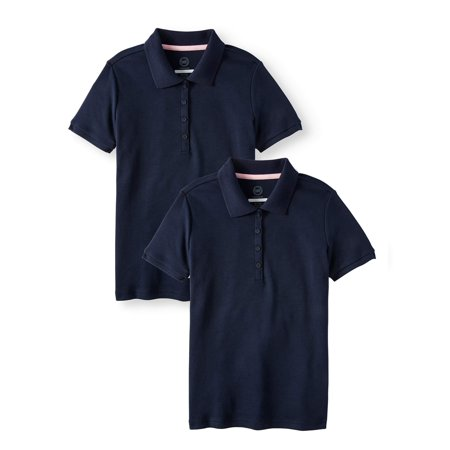 Wonder Nation School Uniform Short Sleeve Interlock Polo, 2-Pack Value Bundle (Little Girls & Big Girls) - Navy Uniform Colors