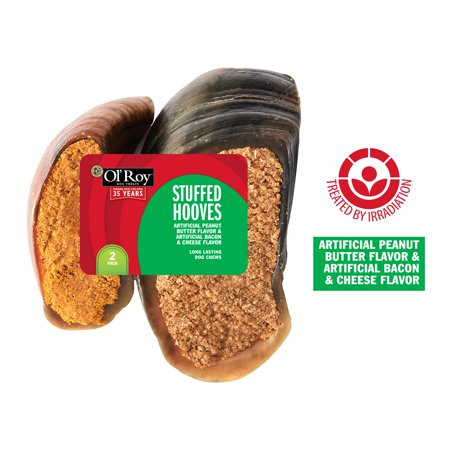 Ol' Roy Stuffed Hooves with Peanut Butter, Bacon and Cheese Flavor, 2 Pack