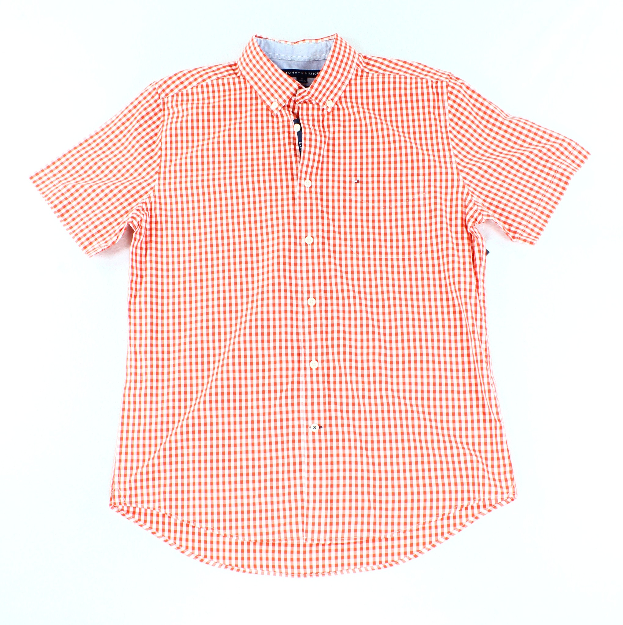 Tommy Hilfiger NEW Red Mens Size Medium M Check Button Down Shirt