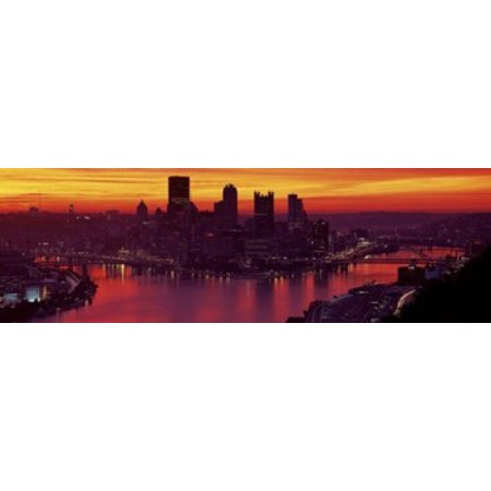 Silhouette Of Buildings At Dawn Three Rivers Stadium Pittsburgh Allegheny County Pennsylvania Usa Canvas Art   Panoramic Images  18 X 6