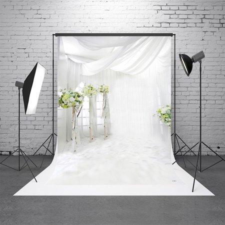 GreenDecor Polyster 5X7ft White Window Curtain Indoor Wedding Children Photography Backgrounds for Photo Studio Photo Backdrops](Wedding Photo Backdrop)