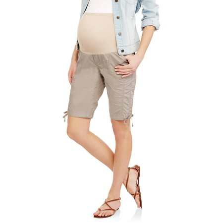 Maternity Overbelly Stretch Poplin Bermuda Shorts - Available in Plus (Stretch Poplin Belted Shorts)