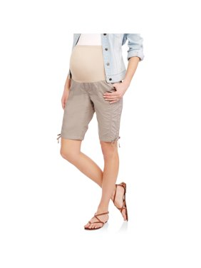 977b16718a1a9 Product Image Oh! Mamma Maternity Over Belly Poplin Bermuda Shorts -  Available in Plus Sizes