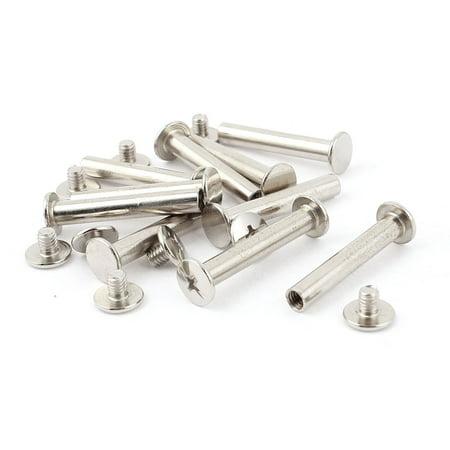 Screwpost Binding (Uxcell 5mmx25mm Nickel Plated Binding Chicago Screw Post for Album Scrapbook (10-pack))