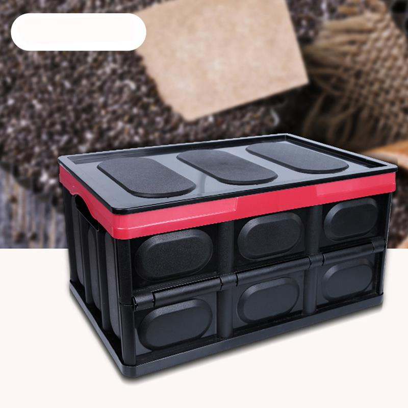 Ktaxon Car Trunk Case Collapsible Plastic Storage Box Durable Stackable Folding Utility Crates with Lid Black