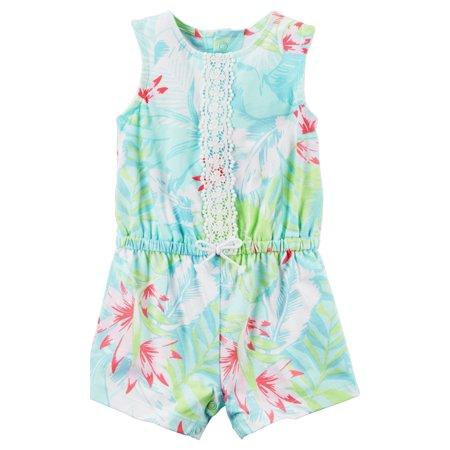 5c965c99c576 Carters - Carters Infant Girls Blue   Green Tropical Leaf Print Romper Baby  Outfit - Walmart.com