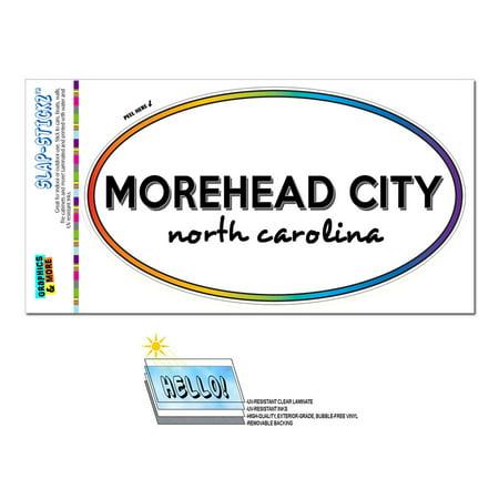 Morehead City, NC - North Carolina - Rainbow - City State - Oval Laminated Sticker