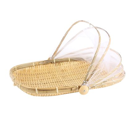 Hand-Woven Bug- proof Basket Dustproof Sun Basket Handmade Fruit Vegetable Bread Cover Picnic Basket with Gauze - image 3 of 9