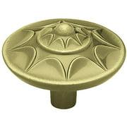 """Brainerd 1-3/8"""" Starburst Round Knob, Antique Brass"""