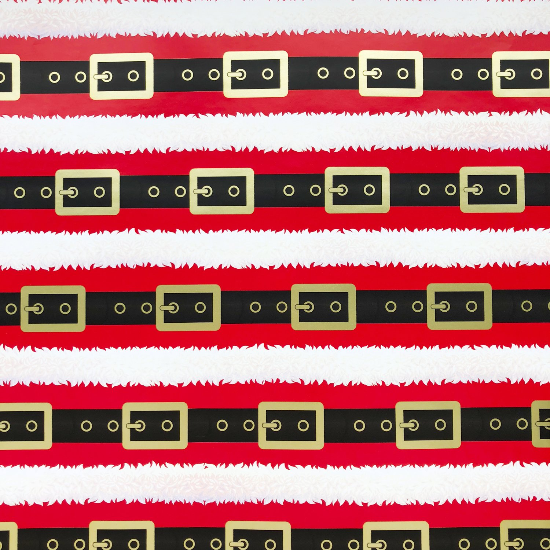 "Jillson & Roberts Bulk Gift Wrap, Santa's Belt, Full Ream 833' x 30"""