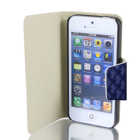 Unique Bargains Check Pattern Faux Leather Flip Stand Case Cover Pouch Dark Blue For Iphone 5 5G