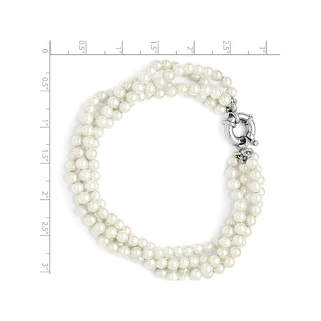 925 Sterling Silver Majestik 4 Row 4-5mm White Shell Bead Twisted Bracelet - image 3 of 4