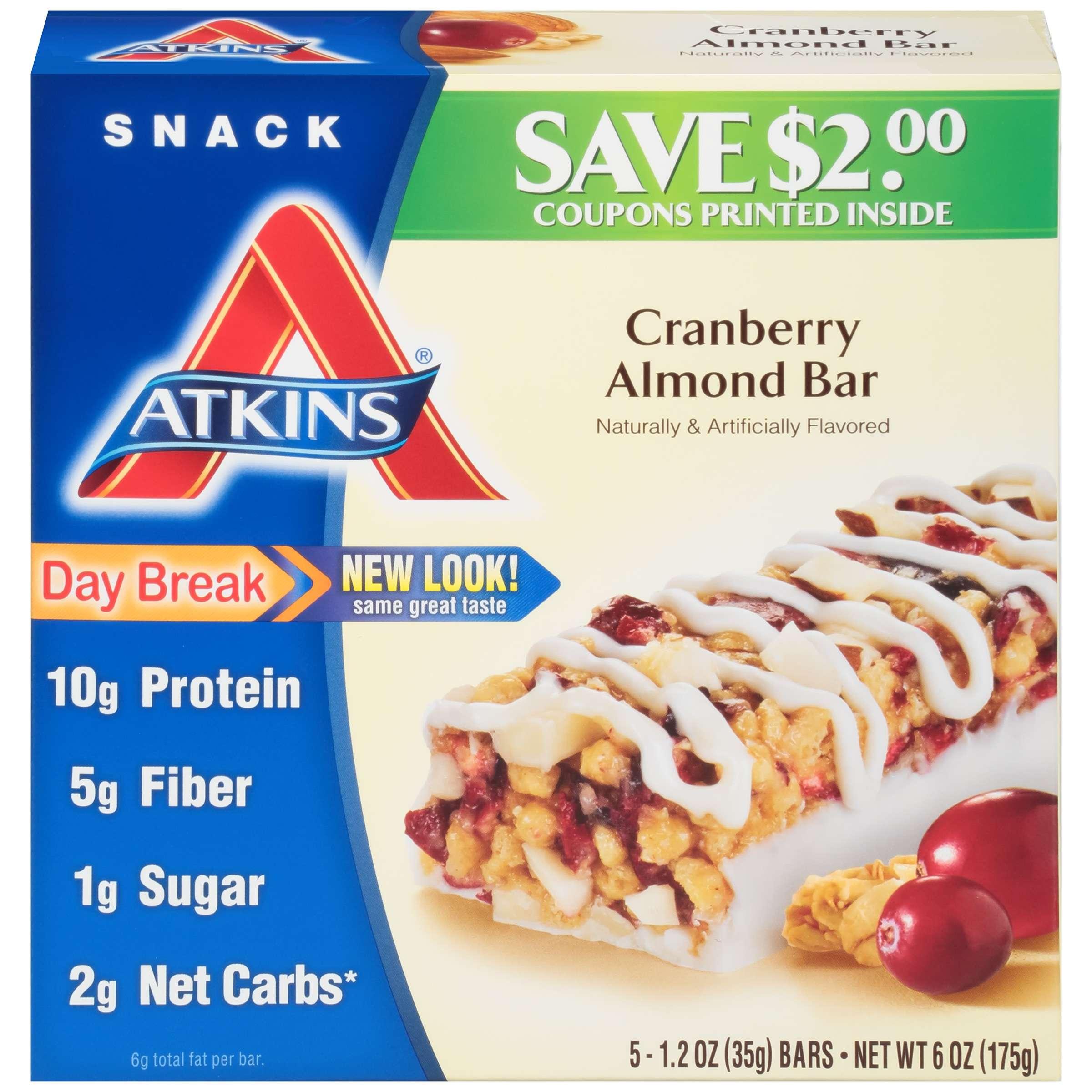 Atkins Cranberry Almond Bars, 1.2oz, 5-pack (Snack)
