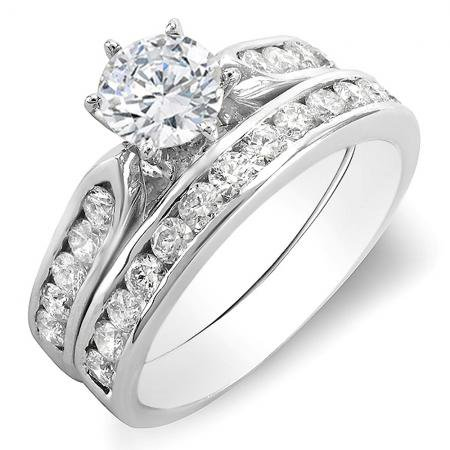 1.10 Carat (ctw) 14k White Gold Round Diamond Ladies Bridal Semi Mount Engagement Ring Set (No Center Stone) Semi Mount Bridal Sets