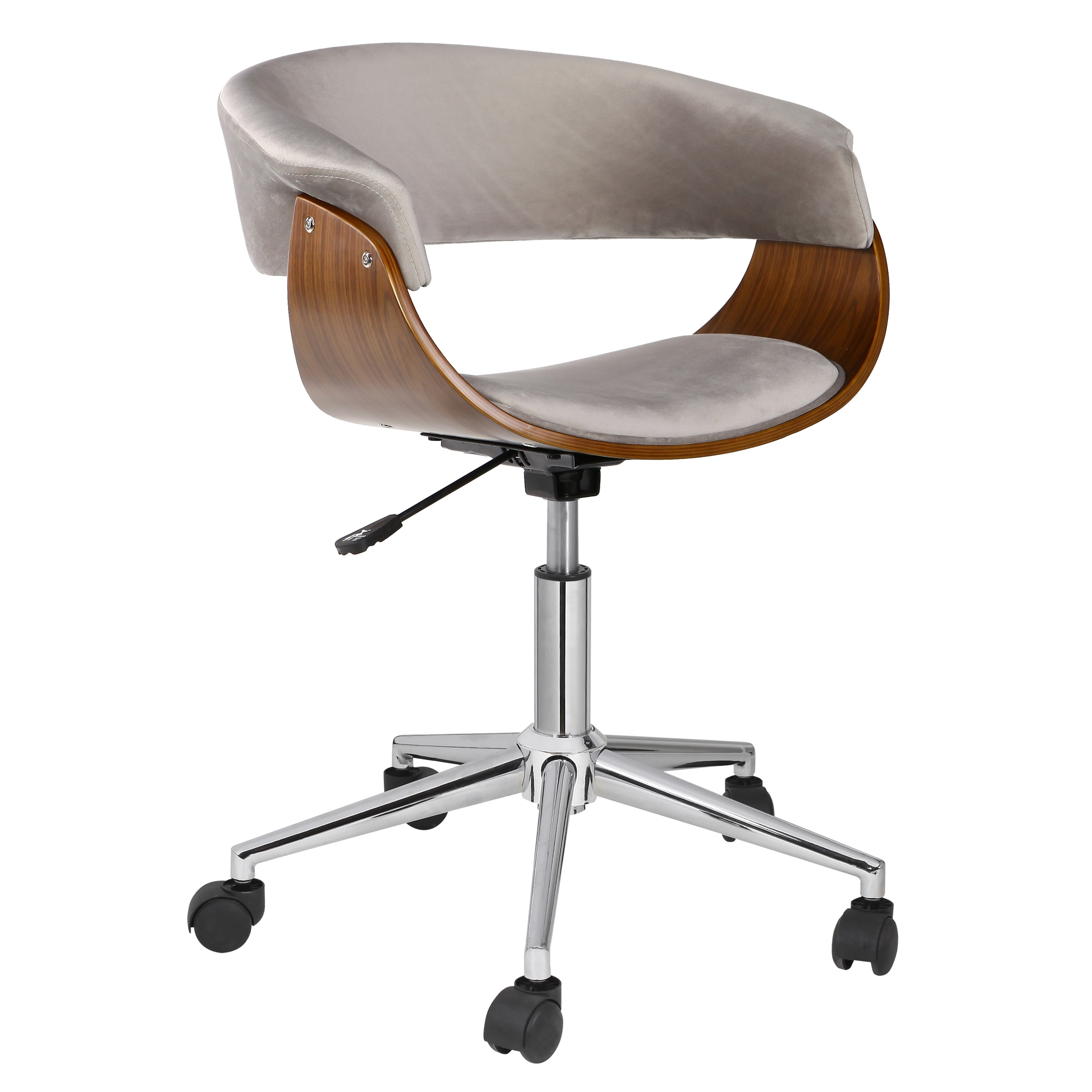 Porthos Home Isla Adjustable Office Chair With 360° Swivel, Suede Upholstery And 5-star Chrome Base With Roller Caster Wheels, Suitable for Studios And Small Offices