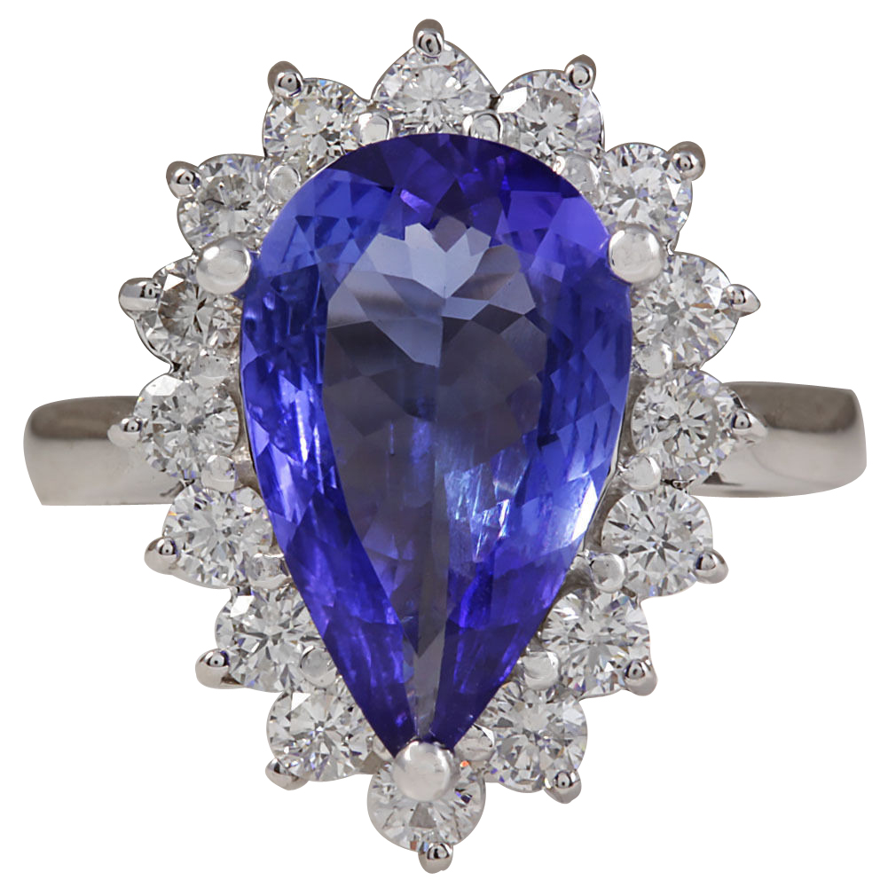 4.13CTW Natural Blue Tanzanite And Diamond Ring In 14K Solid White Gold
