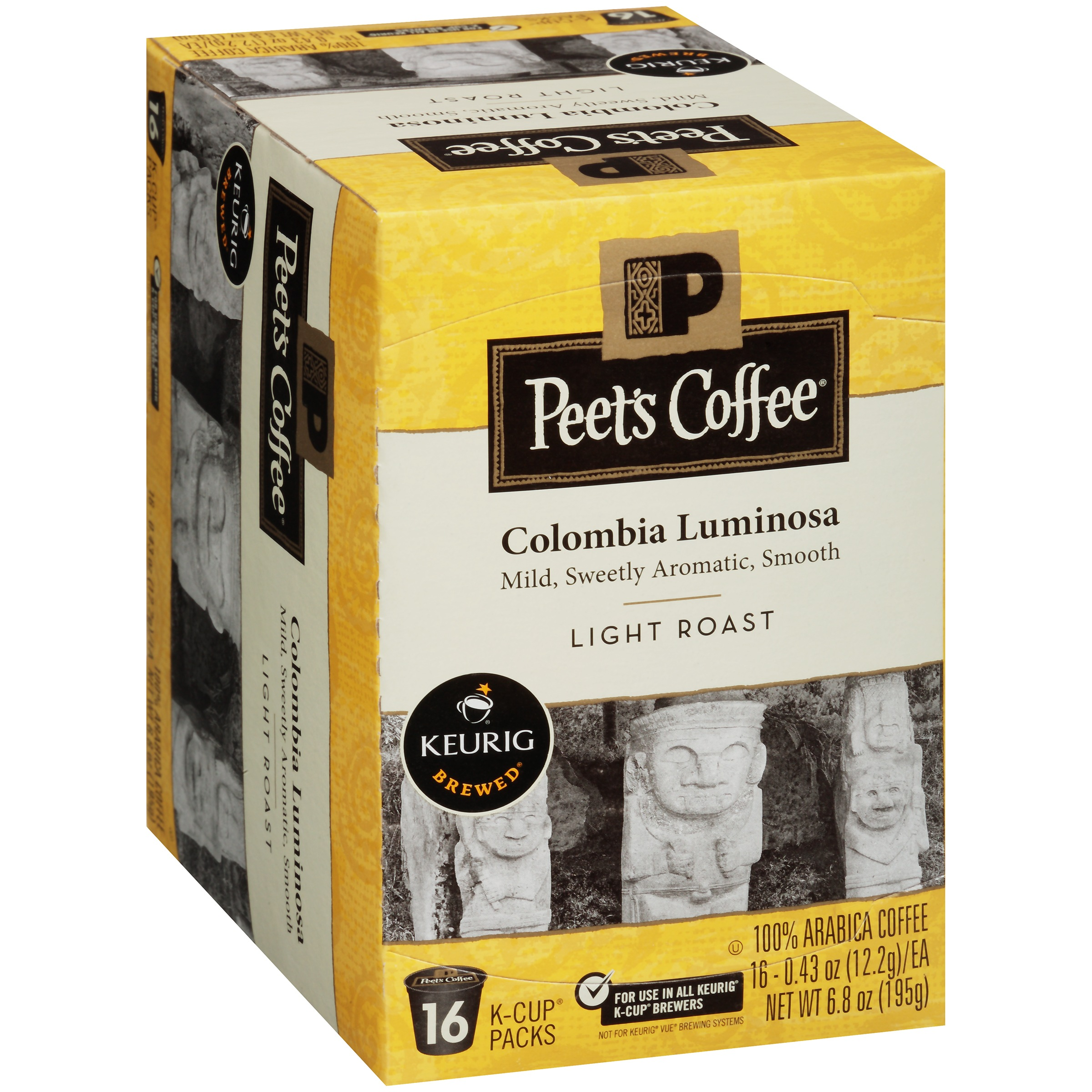 Peet's Coffee Colombia Luminosa Light Roast Coffee K-Cups, 0.43 oz, 16 count