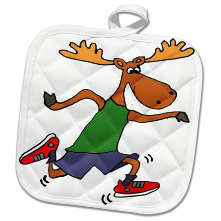3dRose Cute Funny Moose Running or Jogging Cartoon Pot Holder