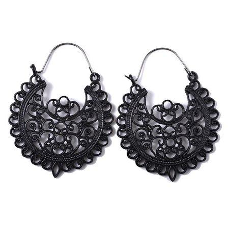 Women Retro Bohemia Carved Flower Hollowed Drop Hanging Earrings Fashion Jewelry Gift black