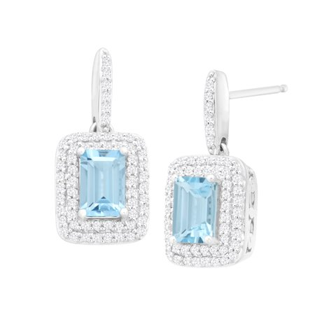 1 1/10 ct Natural Aquamarine & 1/3 ct Diamond Drop Earrings in 14kt White Gold
