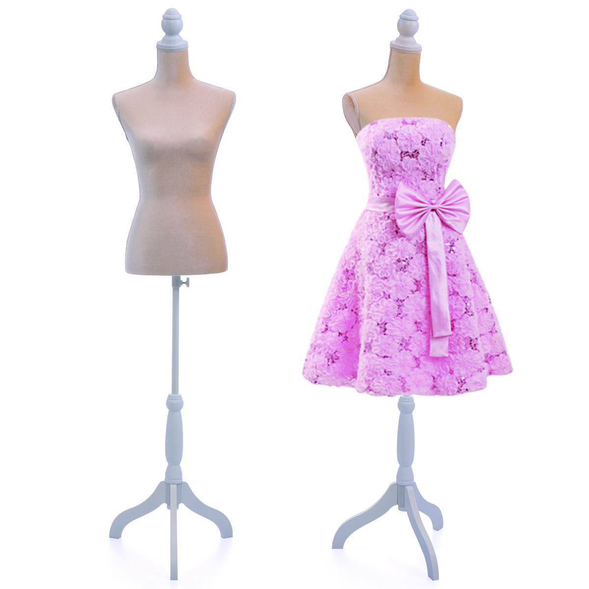 Jaxpety Female Canvas Mannequin Torso Dress Form Clothing Display w/ White Tripod Stand