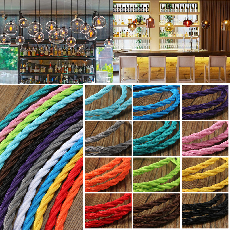 KingSo 1M Vintage Coloured TWIST Braided 3 core Fabric Lighting Flex Cable Cord