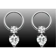 Nipple Ring Heart Dangle Captive Bead Body Jewelry Pair 16 gauge HOC07