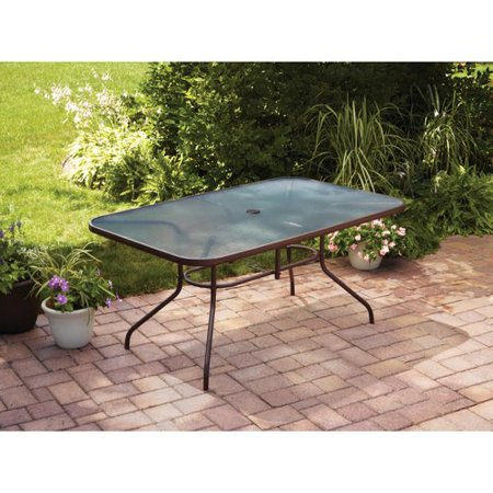Mainstays courtyard creations glass top outdoor dining table brown mainstays courtyard creations glass top outdoor dining table brown watchthetrailerfo
