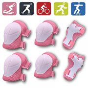 Kids Knee Pads and Elbow Pads 6pcs Wrist Guards for Roller Skates Cycling Protective Gear Set Bike Skateboard Inline Skatings Scooter Riding Sports Adjustable Strap