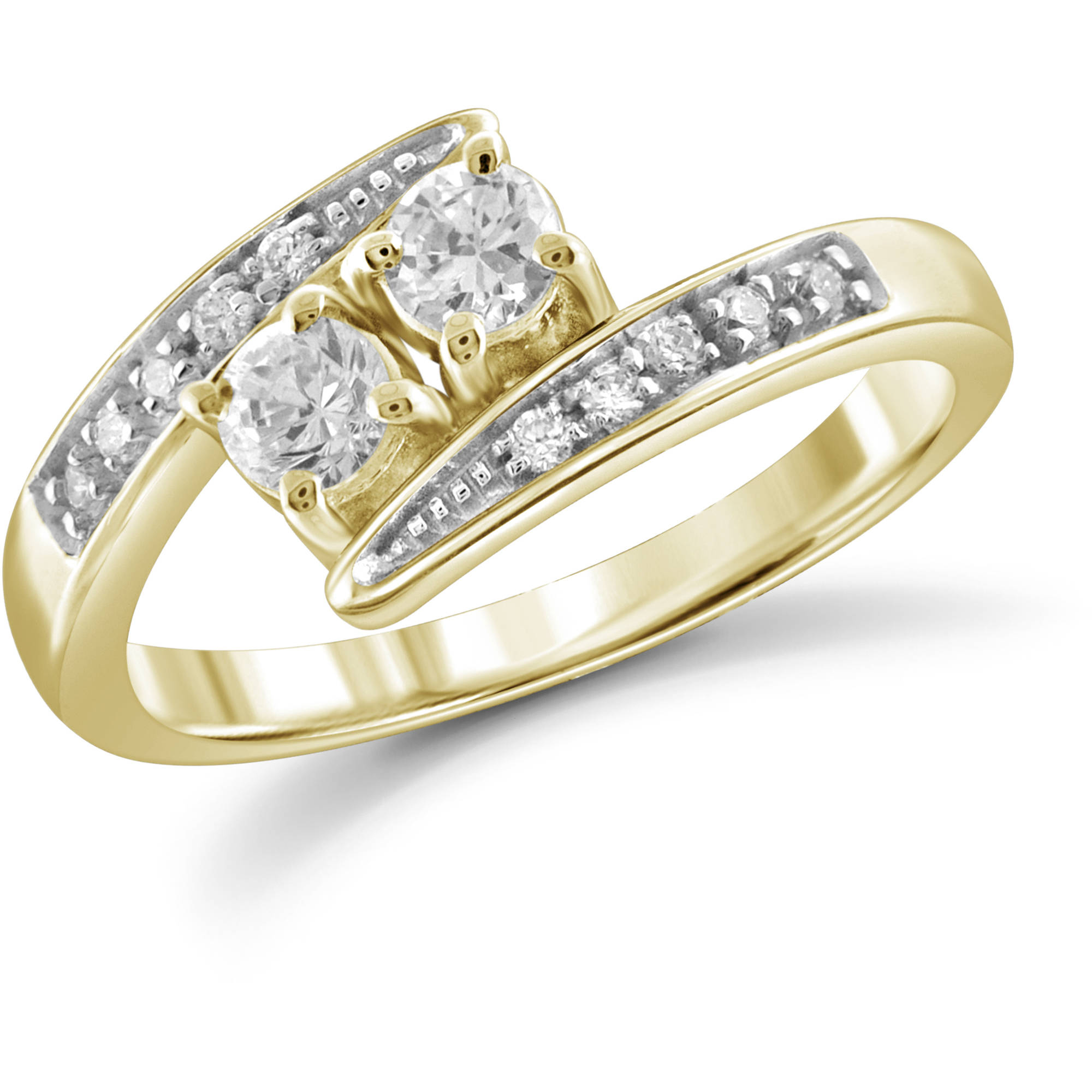 JewelersClub 1/2 Carat TW White Diamond 14Kt Yellow Gold Two-Stone Engagement Ring