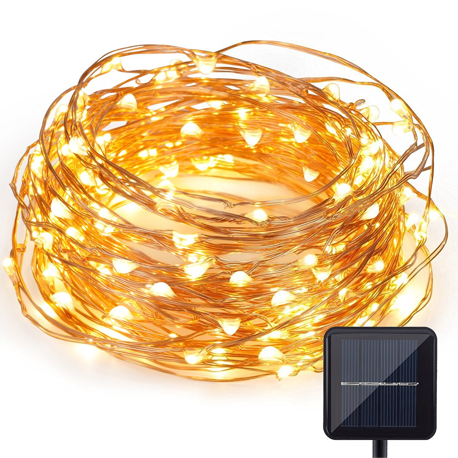 Kohree Solar Powered String Novelty Starry Light Lighting 120 Micro LEDs 20ft Long Ultra Thin String Copper Wire