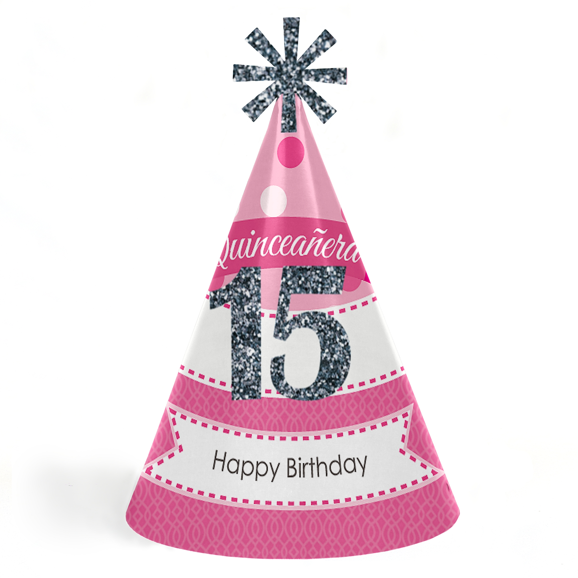 Quinceanera Pink - Sweet 15 - Cone Happy Birthday Party Hats for Kids and Adults - Set of 8 (Standard Size)