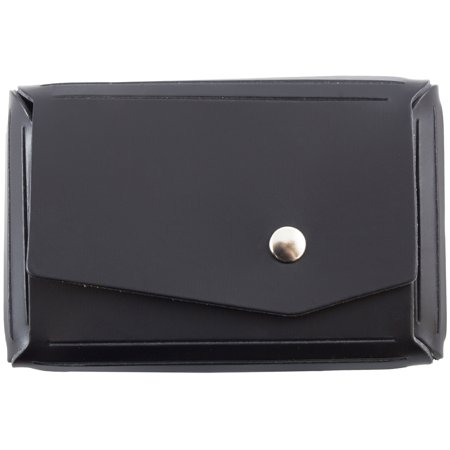 JAM Paper Italian Leather Snap Business Card Case with Angular Flap, 2 1/2 x 4 x 3/4, Black, Sold Individually