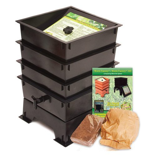 The Worm Factory® 3-Tray Recycled Plastic Worm Composter - Black
