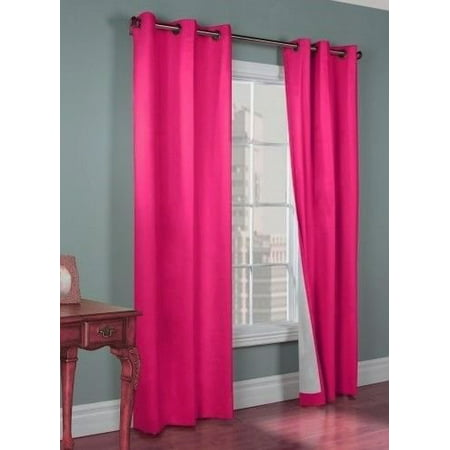 - (#72) 1 PANEL HOT PINK SOLID THERMAL FOAM LINED BLACKOUT HEAVY THICK WINDOW CURTAIN DRAPES BRONZE GROMMETS 84