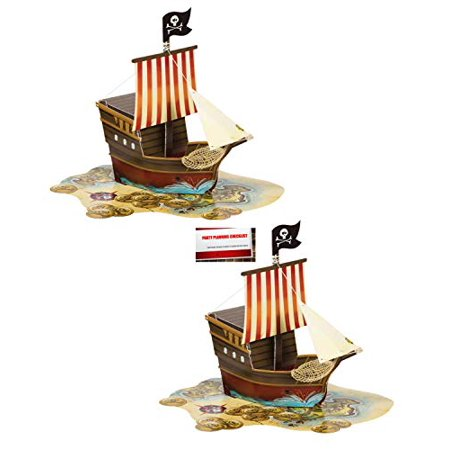 (2 Pack) Pirate Ship Map Birthday Supplies Pop up Centerpiece Plus Party Planning Checklist by Mikes Super Store (Birthday Supply Stores)