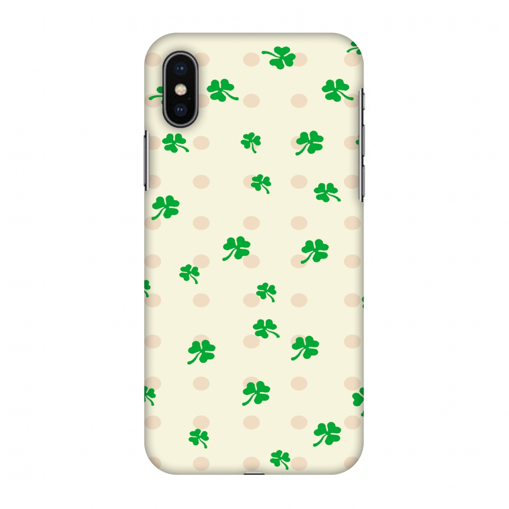 iPhone X Case, Premium Handcrafted Designer Hard Shell Snap On Case Printed Back Cover with Screen Cleaning Kit for iPhone X, Slim, Protective - Shamrocks - Green
