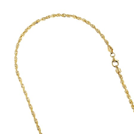 "LUXURMAN Solid 10K Yellow Gold 5mm Wide Rope Chain Diamond Cut Necklace with Lobster Clasp (24"" long)"