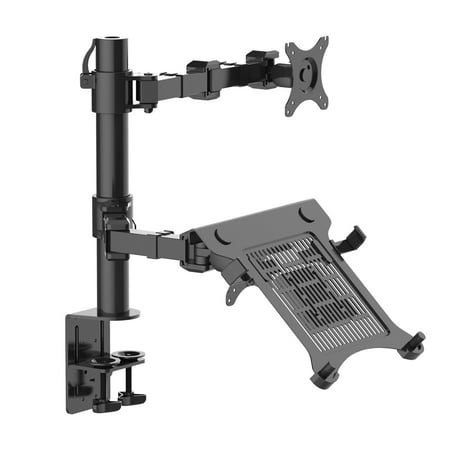 Buy Now FLEXIMOUNTS D1DL 2-in-1 Full Motion Dual Arm Desk Monitor Laptop Mount Stand Fits 10″-27″ Computer Monitor and 11-15.6″ Laptop Before Special Offer Ends