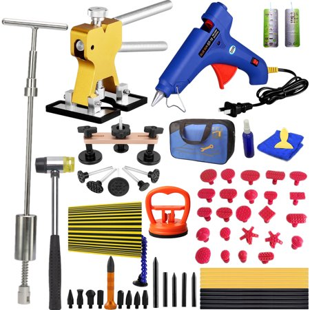 Paintless Dent Repair Tools Dent Puller Kits Pops a Car Dent Removal Kit, Slide Hammer & Glue Gun for Automobile Body Motorcycle Refrigerator
